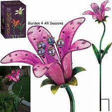 PINK TIGER LILY Flower Solar Light Garden Stake Creekwood Regal Art & Gift Boxed