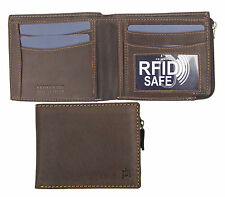 Prime Hide Outback Mens RFID SAFE Brown Leather Wallet with Zip Coin Purse NEW
