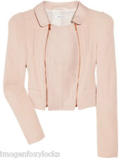 NEW DESIGNER CARVEN BLUSH SHORT LINEN MIX CROPPED JACKET SIZE 10/12 EUR 40