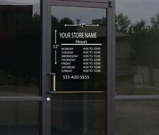 Custom Business Store Hours Sign Vinyl Decal Sticker 12 x 12 Window Door Glass