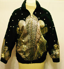 VTG. JULIAN K ISRAEL BLACK SUEDE/GOLD LEATHER 80'S BOMBER STYLE JACKET M/L EUC