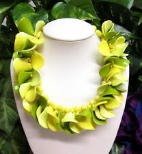 Vintage West Germany CHUNKY Lemon Lime Cluster Beaded Lucite Necklace WOW!