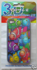 PHONE CASE - Protective Case & Screen Protector (Fish) for i Phone 4s case.  New