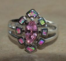fire opal topaz ring gems silver jewelry Sz 6 6.5 7.5 8 8.2 cocktail engagement
