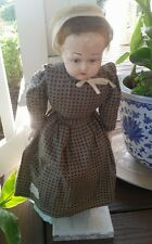 """Mennonite Amish Porcelain head feet hands Blonde 20"""" Doll soft body signed Pike"""