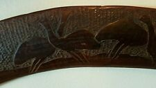 Australian boomerang/ hunting stick 82cm long with emu & kangaroo decor c1920