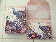 PUNCH STUDIO~COLORFUL PEACOCK~ JEWELED CASE ~ BLANK NOTE CARDS~10~  GORGEOUS
