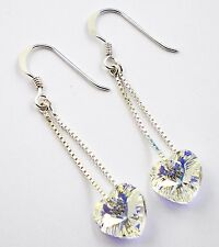 Sterling Silver .925 Swarovski Elements Heart AB Drop Earrings Hook Through