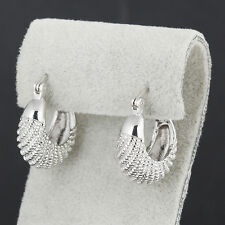 Authentic 9K White Gold Filled Caterpillar Womens Hoop Earrings,No Allergy,Z2985