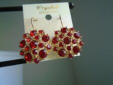 Earring Multi-Dimension Red Crystal and Gold Button Leverback Pierced Dangle