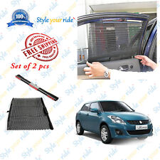 2 Pc Auto Retractable Car Side Window Curtain-Black For Maruti Swift Dzire