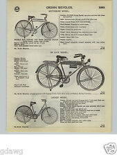 1932 PAPER AD Crown Bicycle Deluxe Model Tank Head Light Luggage Rack Stand Horn