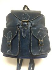 Morocco 100% Leather Blue Backpack Style Handbag Handsewn Rugged Rustic bag