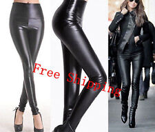 Lady High Waisted Women's Sexy Faux Leather Stretch Skinny Pants Slim Legging OE