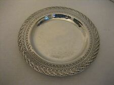 Vintage Silver Plated Decorative Dessert Plate 10 in. Round x 1/2 in.D Pre-Owned