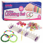 600pc Colourful Rainbow Rubber Loom Bands Bracelet Making Kit Gift Set + S Clips
