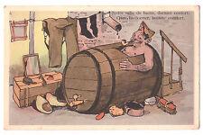 """CPA illustration """"Notre salle de bains"""" TONNEAU DE VIN MILITAIRE Belgique"""
