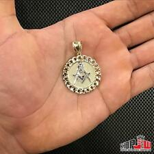 Mens Real 10k Gold Cuban Link Bezel Free Masons Compass Pendant Medallion Round