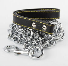 "Champion  4' 4mm Heavy Chain Dog Lead with Leather  Handle  / 48"" long"