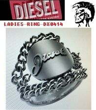 Diesel Stainless Steel Chain Indian Head Logo Ring DX0414 Size 7  $70 BNWT