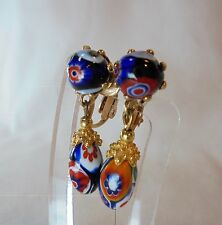 Vintage Venetian Murano Moretti Millefiori Glass Earrings Dangle Clip On Italy!!