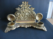 Victorian inkwell Brass Writing Pen Quill ink well writing letter stand Cherubs