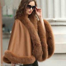 Opulent /Women's Real Cashmere Real Fox Fur Cloak poncho/Coat/Wraps/ A style