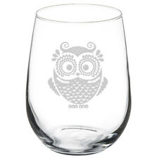 17oz Stemless Wine Glass Owl Vintage