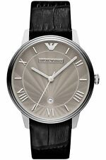 Emporio Armani EA7 Men's Grey Dial Leather Strap Watch AR1612 - 2 Years Warranty