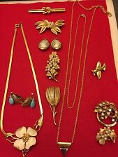 VTG Crown Trifari Jewelry Lot WEAR/REPAIR Pearl Pin MOP Earrings Flower Necklace