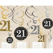 12 Happy 21st Birthday Hanging Swirls/Cutout Gold Black Silver Party Decorations
