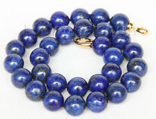 "natural 18"" 14mm round lapis lazuli necklace filled gold clasp j9735"