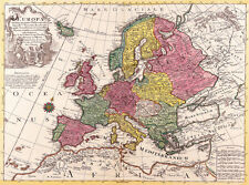 "Vintage Old World Map of Europe 1700's CANVAS PRINT  16""X12"" Poster"