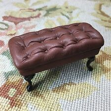 Pat Tyler Dollhouse Miniature Leather Bench Stool Ottoman Seat Table Brown