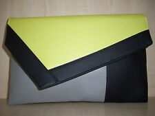 OVER SIZED COLOUR BLOCK LEMON, BLACK & GREY faux leather clutch bag, fully lined