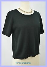"""San Remo Laura Knits Black stretch """"SANTANA KNIT"""" pullover Sweater top PS vtg 80"""