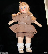 "GIRL SCOUT BROWNIE 1950s GEORGENE NOVELTIES 13"" CLOTH DOLL"