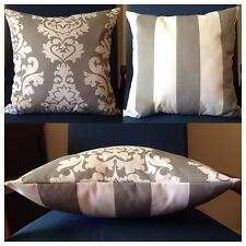 45x45cm Indoor/Outdoor Premier Prints Grey/White Damask/Stripe Cushion Cover