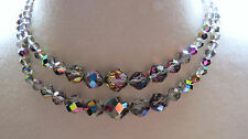 VTG Aurora Borealis Crystal Necklace 2 Strand Brilliant Flash Rhinestones Smoky