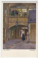 AK Künstler: Josef Straka, Spaziergang - Wiener Innenhof 1920