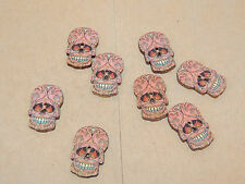 Skull wooden 2 hole button set of  8 (11795)