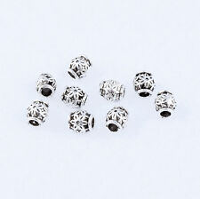 Free ship 50pcs Tibetan Silver Carved Flower Spacer Beads DIY 6X5mm