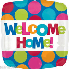 WELCOME HOME SQUARE FOIL BALLOON  43CM CABANA POLKA DOT PARTY HANGING DECORATION