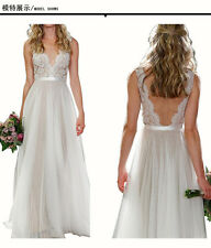 Lace Wedding Dress 2016 Ball Gown Bridal dresses Lace Appliques Chiffon Beach
