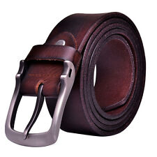 Men Cowhide Vinatge Leather Waist Belt Branded Dress Jeans Single Prong Buckle
