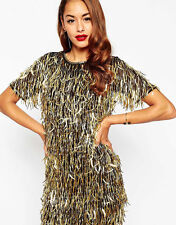 NEW Gorgeous ASOS RED CARPET Gold Embellished Fringe Art Deco Mini Party Dress