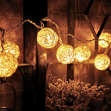 Room 20 LED White Rattan Ball Lights String Fairy Lamps Wedding Party Xmas Decor