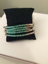 KENNETH COLE BRACELET PEBBLE BEACH AQUA COLORED MIXED FACETED BEADS  $42 #104