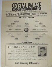 1944/45 (17 March) Crystal Palace v Aldershot. War-time Single Sheet Programme.
