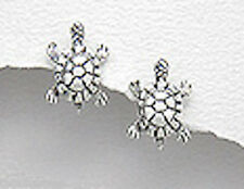 Sterling Silver 14mm Turtle Stud Earrings + Premium Heavy Duty Backs 1.9g CUTE